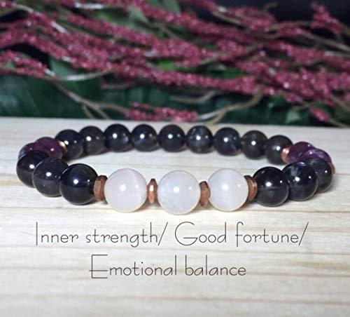 8mm Iolite Bracelet, White Moonstone Bracelet, Lepidolite Bracelet, Inner strength, Self-confidence, Good fortune, Emotional Balance ()