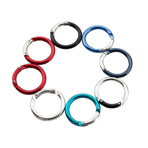 1.6/2/2.4 Inch Aluminum O Shaped Carabiner Spring Round Carabiners Clip Snap Hook Keyring Outdoor Accessories for Hiking Camping