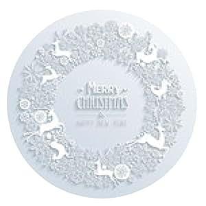 alfombrilla de ratón Blanco Feliz Navidad y Feliz Año Nuevo 3d elementos blancos - ronda - 20cm