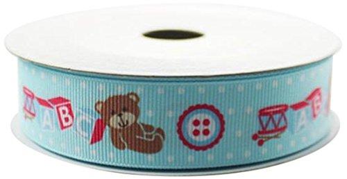 Firefly Imports Homeford Baby Shower Printed Teddy Bear ABC Blocks, 7/8-Inch by 10-Yard, Light Blue ()