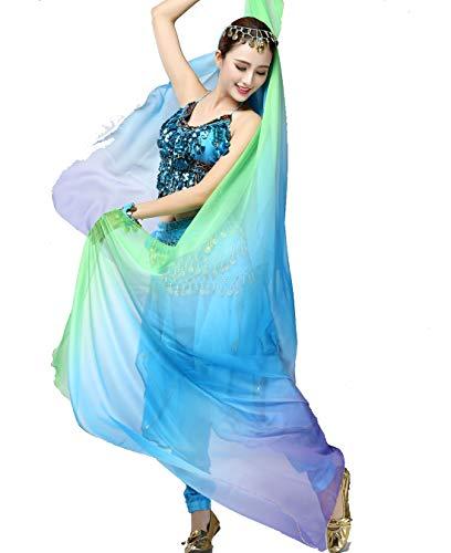 ZLTdream Women's Belly Dance Gradual Colorful Chiffon Scarf and Veil 2.51.2M