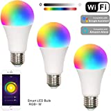 Smart WiFi LED Light Bulb,LED RGB Color Changing Smart LED Light Bulb,Dimamble, Free APP Remote Controlled Home lamp,Compatible with Alexa & Echo & Google Assistant, E27,7W,3 Pack