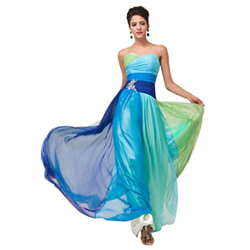 Best Selling Strapless Chiffon Evening Dress with Acrylic Embellished Beads Floor Length Dress (Blue)