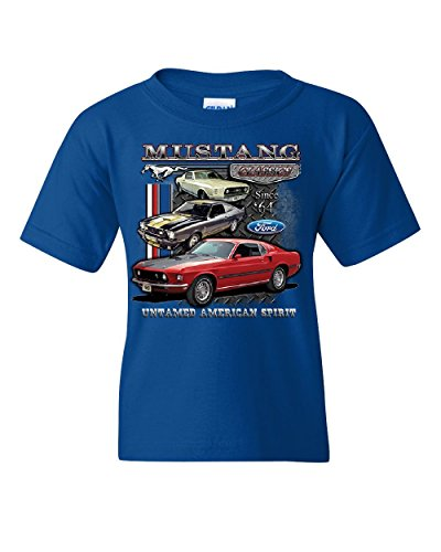 Muscle Mustang T-shirt - Ford Mustang Classics Youth T-Shirt Muscle Car Untamed American Spirit Kids Tee Royal Blue S