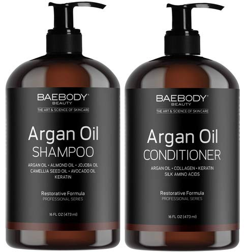 Baebody Moroccan Argan Oil Shampoo & Conditioner Set - Volumizing & Moisturizing, Gentle on Curly & Color Treated Hair, for Men & Women. Infused with Keratin -16 fl oz.
