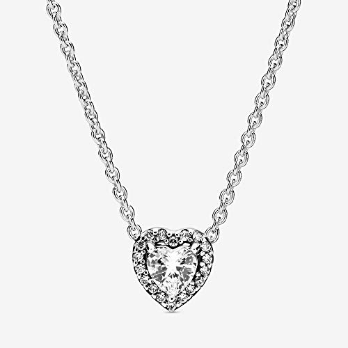 45 Cm Necklace - PANDORA Elevated Heart 925 Sterling Silver Necklace, Size: 45cm, 17.7 inches - 398425C01-45