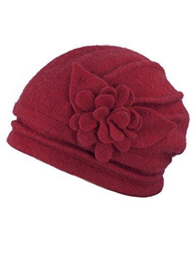 Dahlia Women's Elegant Flower Wool Cloche Bucket Slouch Hat - Red