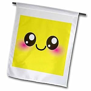 InspirationzStore Kawaii Smileys - Yellow Kawaii Smiley Square - Adorable and Cute Cartoon Smiling Face - Cartoony happy shy blushing - 18 x 27 inch Garden Flag (fl_76621_2)