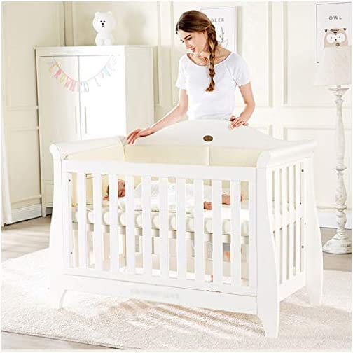 DUWEN Cot Bed Solid Wood Multifunction Baby Cot European Style Cot Bed Toddler Bed Splicing Bed