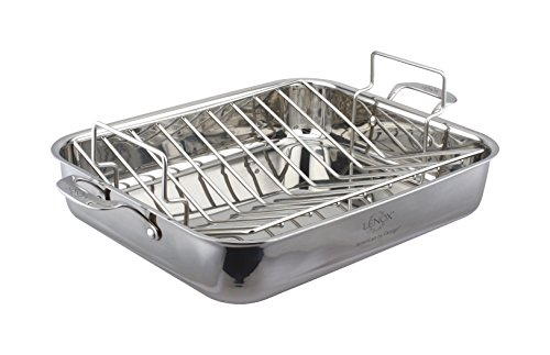 Lenox 16'' Tri-Ply Roaster & Rack, 5'', Stainless Steel by Lenox