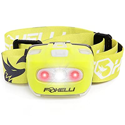 Foxelli Headlamp Flashlight - Bright 165 Lumen White Cree Led + Red Light, Perfect for Runners, Lightweight, Waterproof, Adjustable Headband, 3 AAA Batteries Incl.
