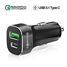 Quick Charge 2.0 + Type C Car Charger, BlitzWolf 33W 3A USB-C and Qualcomm QC2.0 5V/9V/12V USB Charger for Samsung Galaxy S6 Edge, Sony Xperia, Google Chromebook Pixel, Nexus 6P 5X, HTC, LG (Black)