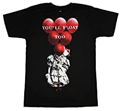 "Officially licensed IT adult black t-shirt features a Pennywise hiding behind a large bunch of balloons and the phrase ""You'll Float Too"" on the front."