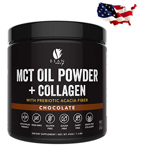 MCT Oil Powder + Collagen + Prebiotic Acacia Fiber - 100% Pure MCT's - Perfect for Keto - Energy Boost - Nutrient Absorption - Healthy Gut Support - - Milk Body Acacia