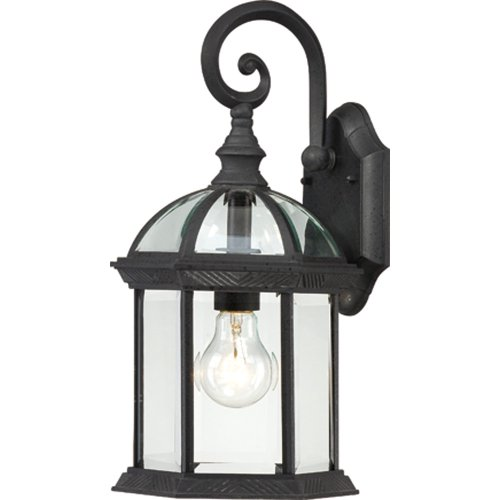Nuvo Lighting 60/4963 Boxwood One Light Small Wall Lantern/Arm Down 100 Watt A19 Max. Clear Beveled Glass Textured Black Outdoor Fixture ()