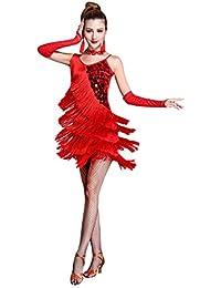 Z&X Women's Dancewear Sequin Fringe Tassel Latin Dance Dress 4/5 Pieces Outfits