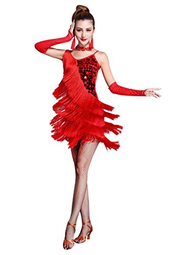 ZX Z&X Women's Dancewear Sequin Fringe Tassel Latin Dance Dress 5 Pieces Outfits Large Red_5 ()