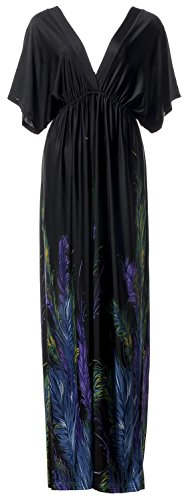 QZUnique Women's Batwing Sleeve Peacock Feather Print Long Beach Dresses - V-neck Womens Peacock