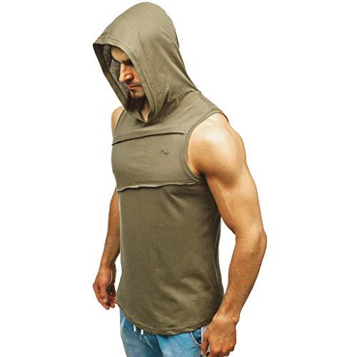 BUZHIDAO Tanktop voor heren, sport, mouwloos, hoodie, muscleshirt, workout, fitness, training, bodybuilding, hoodie voor…
