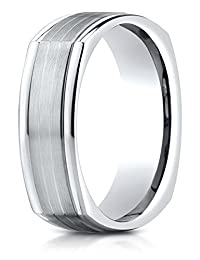 Benchmark® 7mm Comfort-fit Satin-finished Parallel Center Cuts Four-sided Carved Design Band