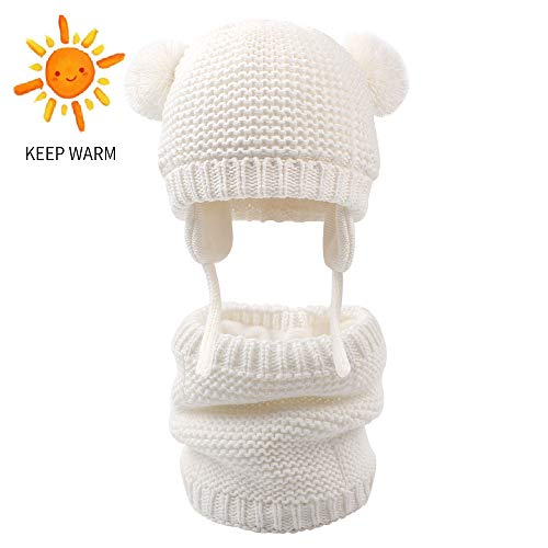 XIAOHAWANG 2PCS Baby Hat Scarf Set Winter Boys Girls Toddler Earflap Beanie Warm Neckerchiefs Infant Thick Knit Scarves Caps for Kids (Hat Scarf Set(White), S(0-6 Months))