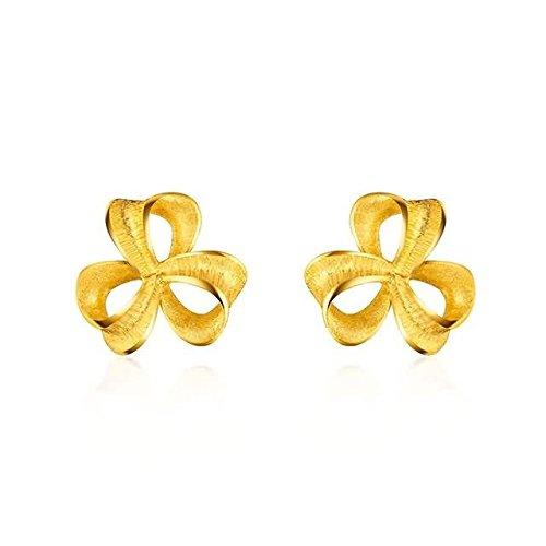 Beydodo 2.08g 24K Yellow Gold 999 Stud Earrings for Womens Small Windmill Earrings Stud for Wedding by Beydodo