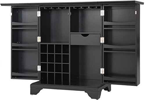 Crosley Furniture LaFayette Expandable Top Bar Cabinet - Black (Bar Top Cabinet)