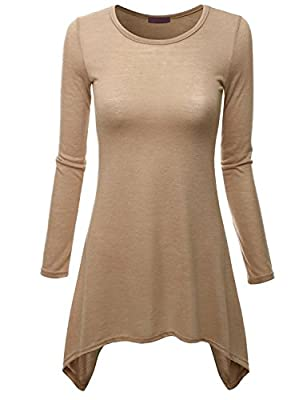 Doublju Womens Long Sleeve Crewneck Cotton Knit Asymmetrical Tunic Top