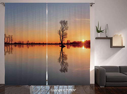 Single Basin Classroom Sink - Thermal Insulated Blackout Window Curtain [ Lake,Silhouette of Single Tree over Still Lake Basin with Last Sun Rays on the Day Theme,Orange Blue ] for Living Room Bedroom Dorm Room Classroom Kitchen C
