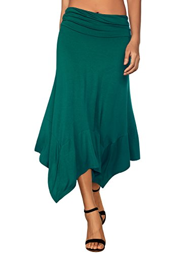 DJT Women's Flowy Handkerchief Hemline Midi Skirt X-Large - Gathered Waist Skirt