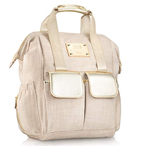 Designer Diaper Bag Backpack by MB Krauss - Large Women's Diapering Backpack with Multiple Pockets, Luxurious Design - Bonus Changing PAD Clutch & Bottle Warmer (Gold)