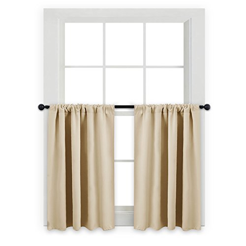 PONY DANCE Kitchen Curtains 36 - Tiers Valances Blackout Window Drapes Thermal Insulated Blinds Matching with Curtain Panels, 42 Width x 36 Length, Beige, Set of 2