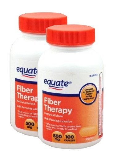 Equate Fiber Therapy 500mg Two 100ct Bottles Compare to Citrucel