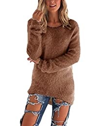Women Casual Thick Knit Pullover Fleece High Low Sweater