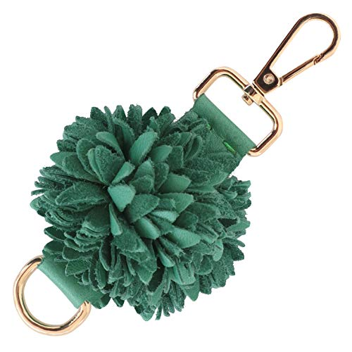 Genuine Leather Handmade Pom Pom Charms | Key Ring Keychain | for Tassel Bags Purse Backpack (Green - Pom Pom)