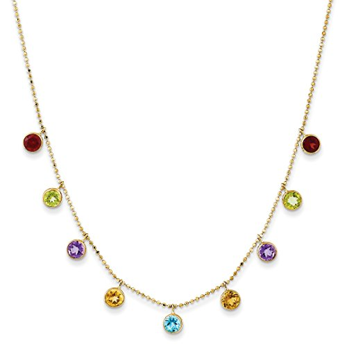 ICE CARATS 14kt Yellow Gold Multi Color Gemstone Chain Necklace 2 Inch Extension Pendant Charm Fine Jewelry Ideal Gifts For Women Gift Set From Heart
