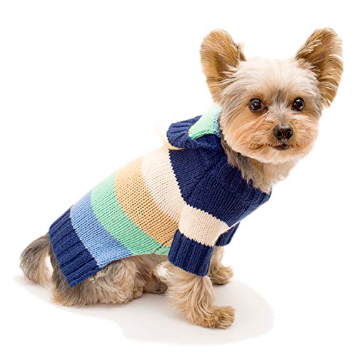 Stinky G Happy Stripes Hoodie Dog Sweater Blue Size #12 ()