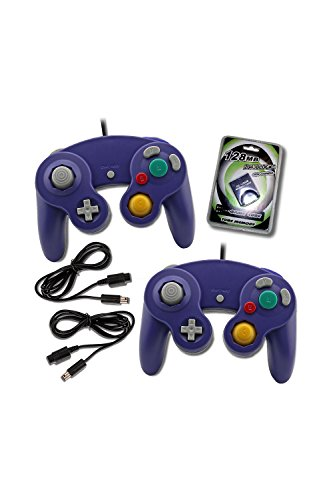 MarioRetro 2 Purple Game Cube Controllers with 2 Extension Cables and 128mb Memory Card (Purple) Compatible for Nintendo (Memory Purple Gamecube Card)