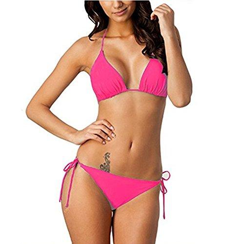 Mujeres Bikini, IHRKleid® Push-Up Bikini Conjunto Bandeau Acolchado Traje de Baño Swimwear Hot Pink