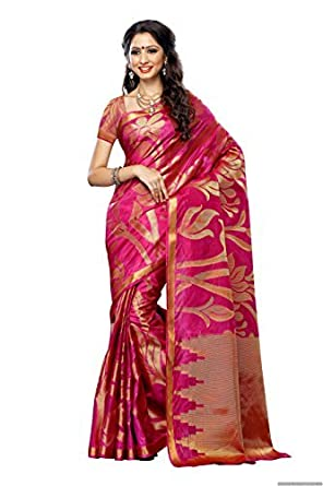 89fc8b5bd2 MIMOSA Women's Silk Saree with Blouse Piece (163-Rani,Rani,Free Size):  Amazon.in: Clothing & Accessories