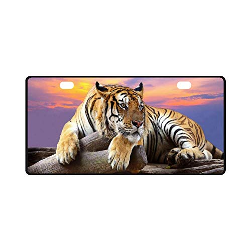 License Plate Tiger Pattern Metal Auto Car Tag 11.8