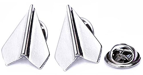 Dragon Sunglasses Pin (Brand New Set of 2 Platinum Plated Paper Airplane Origami Brooch Lapel Pins (Silver))