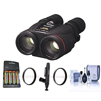 Canon 10x42 L IS WP Image Stabilized, Water Proof Porro Prism Binocular - Bundle With 4AA Ni-MH Battaries with Charger, 2x 52mm UV Filters, Cleaning Kit, LensPen Cleaner
