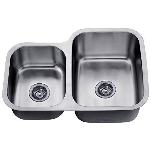 Satin Polished Double Bowl - Dawn ASU110L Undermount Double Bowl Sink, Polished Satin