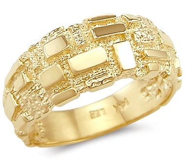 - Size- 10 - 14k Solid Yellow Gold Ladies Mens Square Nugget Ring