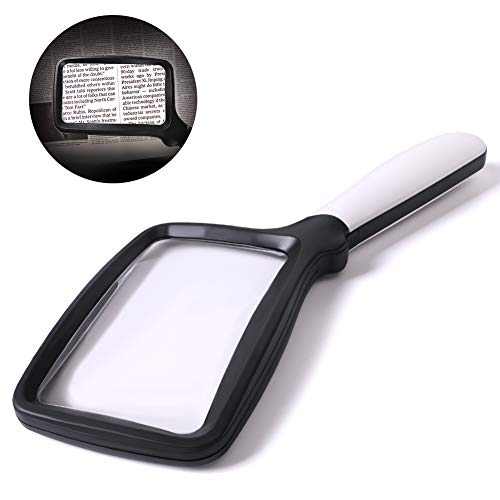 Hand Held Reading 3X Magnifying Glass with 5 LED Light Folding Large Magnifier for Reading Small Prints, Book