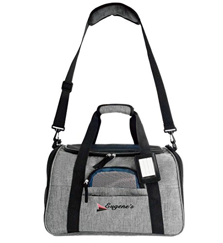 Travel peat dog cat carrier by Eugene's. New Generation of dog carriers Airline Approved Under Seat Compatible. dog cat pet puppy bag carrier for small pets. by Eugene's (Image #3)