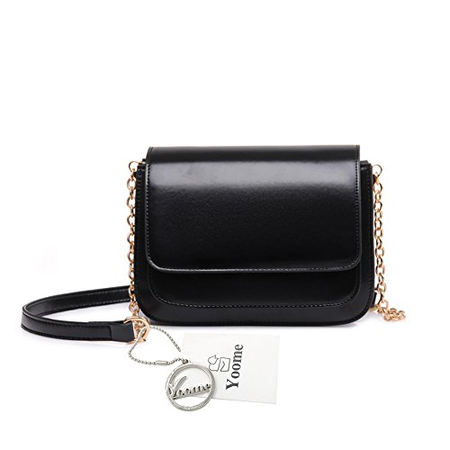 Women Zigzag Pure Elegant Color Black Yoome Folding Retro Style Flap Black Bag Bags For Alley Chain Large q8HA6SFw