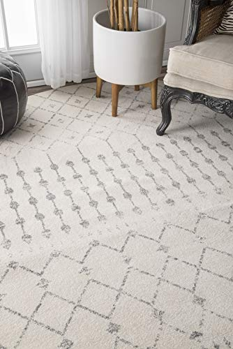 """nuLOOM Moroccan Blythe Runner Rug, 2' 8"""" x 8', Grey/Off-white - Made in Turkey PREMIUM MATERIAL: Crafted of durable synthetic fibers, it has soft texture and is easy to clean SLEEK LOOK: Doesn't obstruct doorways and brings elegance to any space - runner-rugs, entryway-furniture-decor, entryway-laundry-room - 41PzWAPv%2BeL -"""