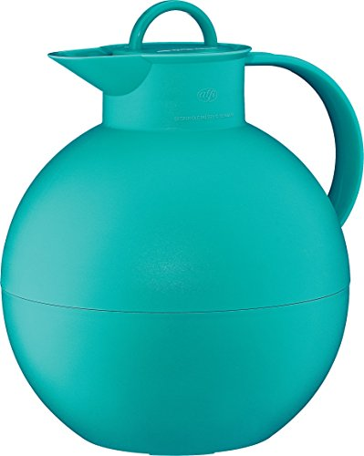 alfi Kugel Glass Vacuum Frosted Plastic Thermal Carafe for Hot and Cold Beverages, 0.94 L, Teal ()